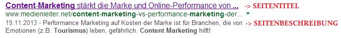 Anzeige eines Google-Suuchergebnisses mit Seitentitel und Seitenbeschreibung