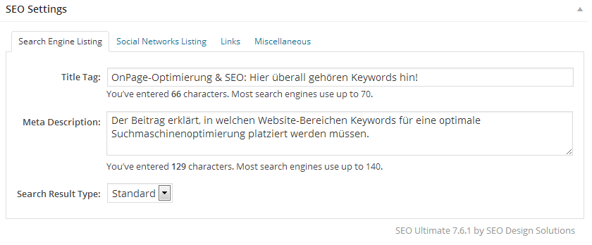 Benutzeroberfläche des WordPress-Tools SEO-Ultimate für Seitentitel und Seitenbeschreibung