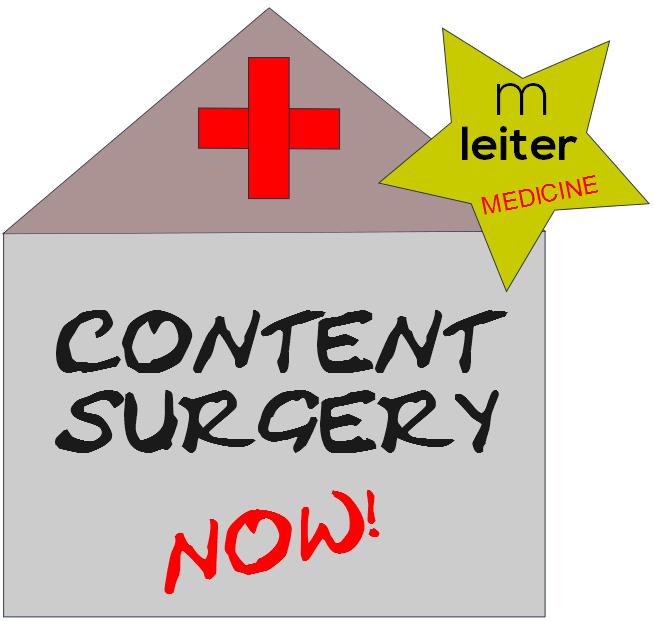 Das Bild zeigt den Schriftzug: CONTENT SURGERY NOW! - medienleiter MEDICINE steht für patientengerechte Inhalte, die Verständlichkeit, Kompetenz und Vertrauen verbinden.