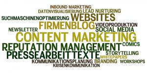Worlde mit umgebenden Begrifflichkeiten zu Content-Marketing